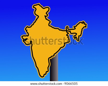 yellow India map warning sign on blue illustration