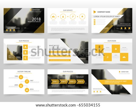 Yellow Infographic Elements Presentation Template Flat Stock Vector
