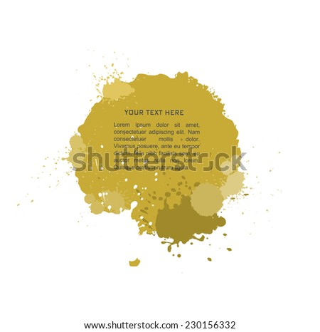 yellow  Ink splats with text. vector red ink splashes,each splash is grouped individually ,so you can modify it as you want. - stock vector