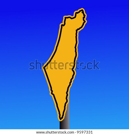 yellow Israel map warning sign on blue illustration