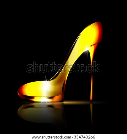 yellow jewel shoe - stock vector