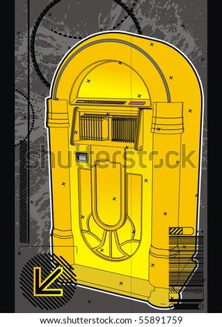 jukebox labels template - yellow jukebox graphic design template stock vector