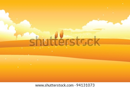 Yellow landscape with clouds in sky - stock vector