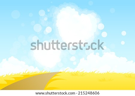 Yellow Landscape with  Road and Heart Shape Clouds - stock vector