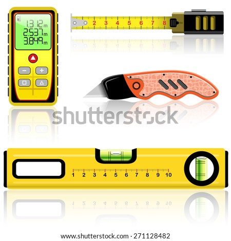 Yellow laser range finder, spirit level, tape measure, knife construction isolated on white. Vector illustration. - stock vector