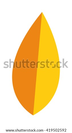 yellow leaf on white background. Yellow leaf autumn season and nature yellow leaf color plant foliage. Yellow leaf bright decoration and design yellow leaf golden natural october colorful flat leaf. - stock vector