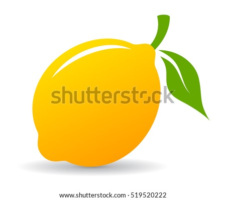 Yellow lemon vector icon illustration isolated on white background. Lemon icon eps. Lemon icon clip art.
