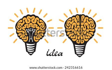 yellow Light bulb idea human brain Isolated on white background - stock vector