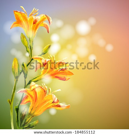 Yellow lilies flowers background. Spring flowers invitation template card