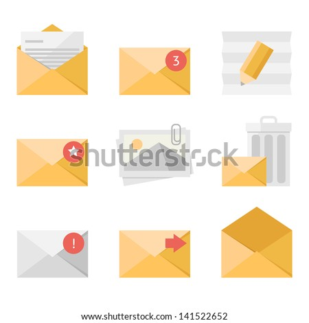 Yellow mail icon set in flat design style - stock vector