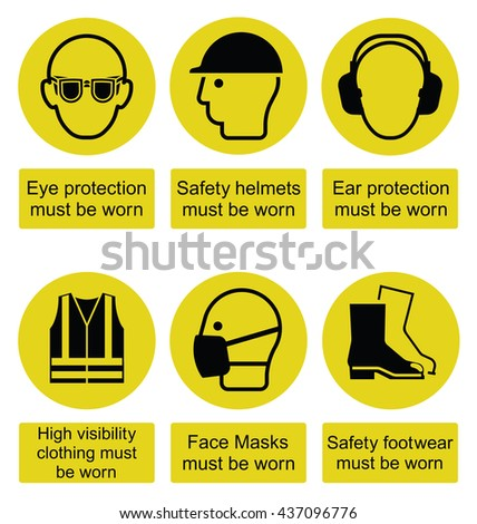 Yellow mandatory construction manufacturing and engineering health and safety signs to current British Standards isolated on white background