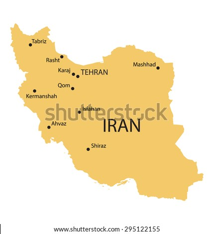 yellow map of iran with indication of largest cities