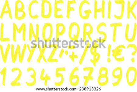 yellow marker font  - stock vector