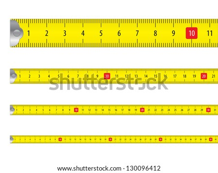 Yellow measure tape on white background. Vector illustration. - stock vector