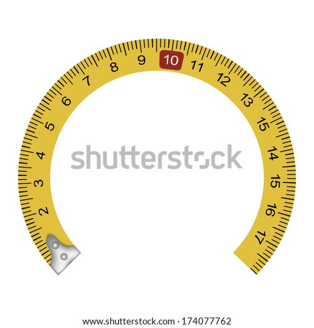 Yellow measuring tape in the shape of a horseshoe - stock vector