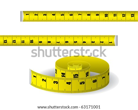 Yellow measuring tape isolated on white background - stock vector