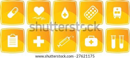 Yellow medicine icons set (Vector) - stock vector