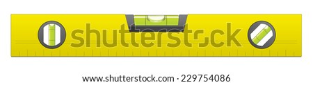 Yellow Metal Bubble Level Vector Isolated on White Background - stock vector