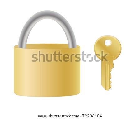 yellow metal padlock and key - stock vector