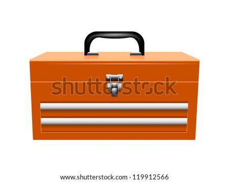 Yellow metal toolbox - stock vector