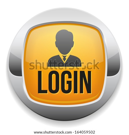 Yellow metallic login button - stock vector