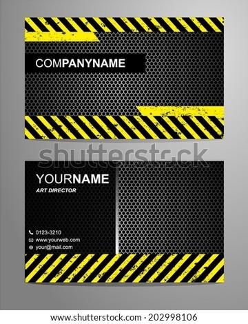 Yellow Modern Business Card  - stock vector