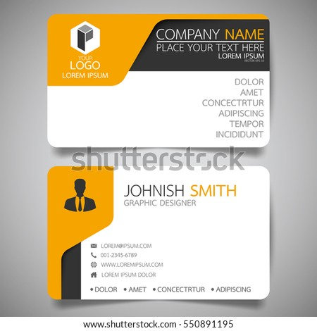 Yellow Modern Creative Business Card And Name Card,horizontal Simple Clean  Template Vector Design,