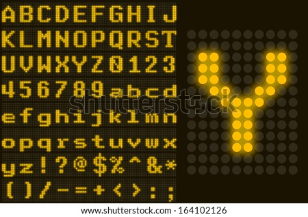 Yellow monospace dotted LED display letter set - stock vector