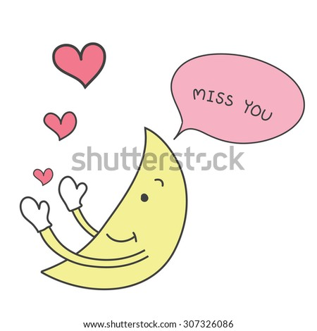 yellow moon hand drawn cute send pink heart with word miss you  vector - stock vector