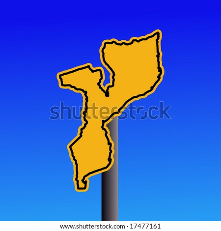 yellow Mozambique map warning sign on blue illustration