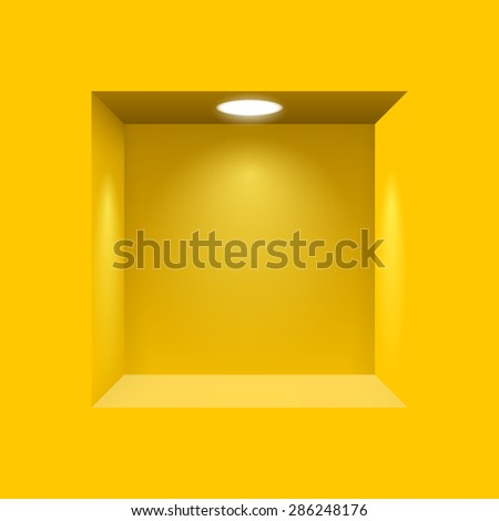 Yellow niche for presentations with illuminated  light lamp