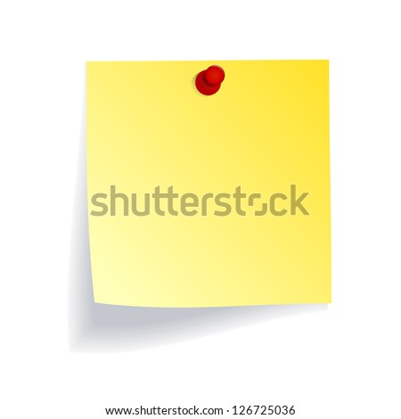 Yellow note with red push pin on white wall - stock vector