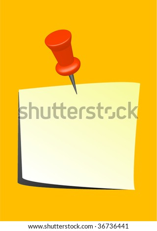 yellow note with thumbtack vector - stock vector