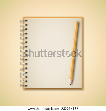 Yellow Notebook and Pencil Vector  - stock vector