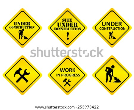Yellow on black graphics signs or icons indicating a website is under constructions or in development. isolated on white background - stock vector