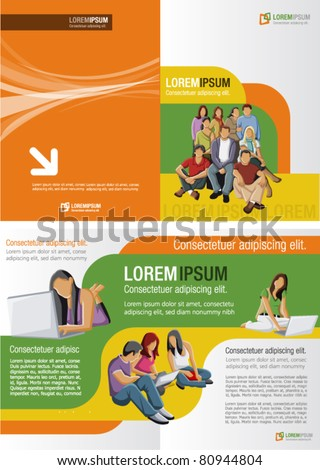 Yellow, orange and green template for advertising brochure with studants - stock vector