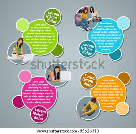 Yellow, orange and green template for advertising brochure with students - stock vector