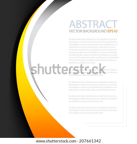 Yellow orange line on black background with white space for text and message modern artwork design - stock vector