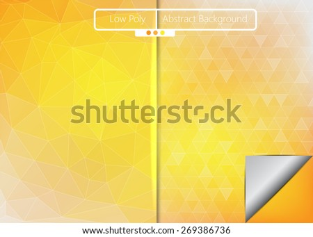 Yellow/Orange Polygonal, Triangular Low Poly on Blue Abstract Background, 2 Different Styles, Vector Illustration - stock vector