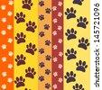 yellow, orange, red paws seamless pattern - stock vector