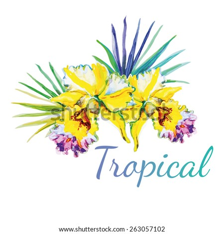 Yellow orchids with green palm leaves on the white background. Watercolor tropical flowers print composition for your design.  - stock vector