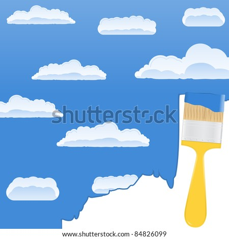 Yellow paintbrush drawing a sky with clouds