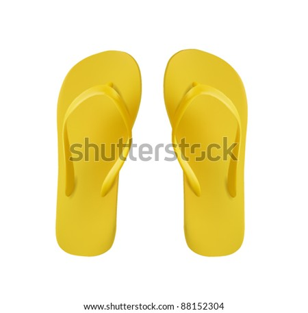 Yellow Pair of Flip Flops Isolated On White - stock vector