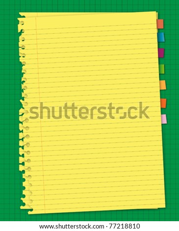 Yellow paper and reminder note on green screen board - stock vector