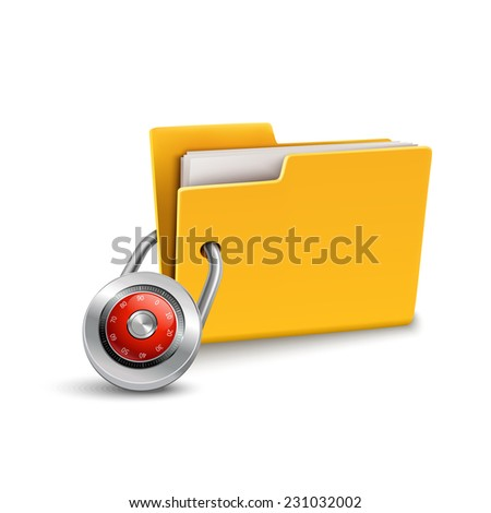 Yellow paper folder 3d with closed lock isolated on white background confidential data file security protection concept vector illustration - stock vector
