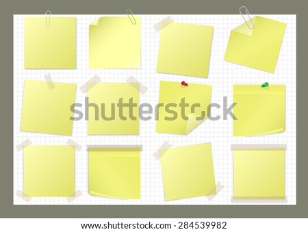 Yellow paper sticker set with pin, paper clip and sticky tape - stock vector