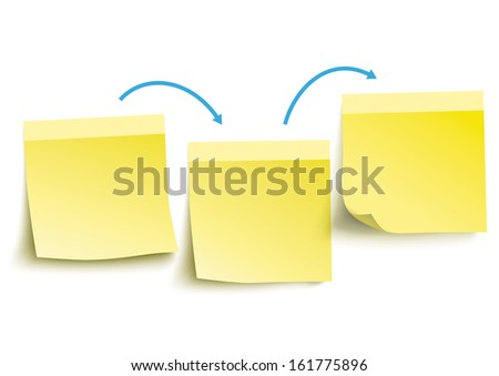 Yellow paper stickers on the white background. Eps 10 vector file. - stock vector