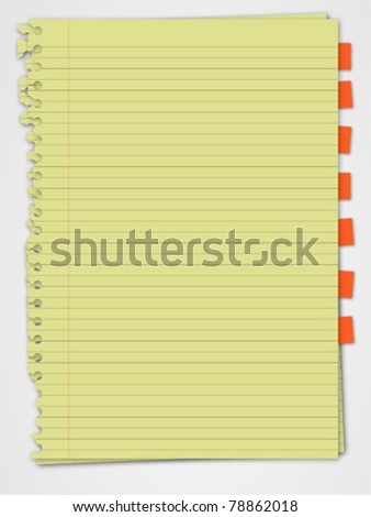 Yellow paper with bookmark - stock vector