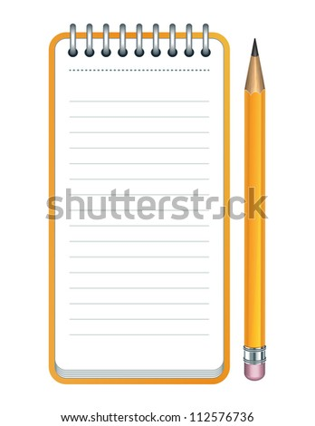 Yellow Pencil and notepad icon. Vector illustration - stock vector