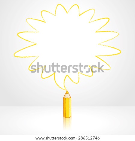 Yellow Pencil with Reflection Drawing Rounded Starburst Speech Bubble Grey Background - stock vector